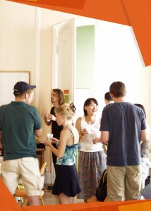 French school in Montpellier: Students chatting and having fun in a sunny classroom between courses
