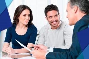 A businessman explaining a document to client