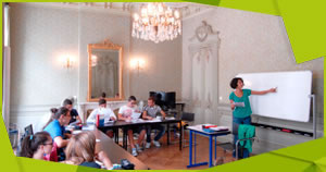 Language lessons being given in a beautiful 18th century building