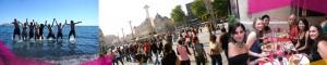 Contacto. Gente disfrutando del sur de Francia en Montpellier