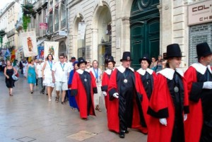 Religious parade in the ecusson area of Montpellier