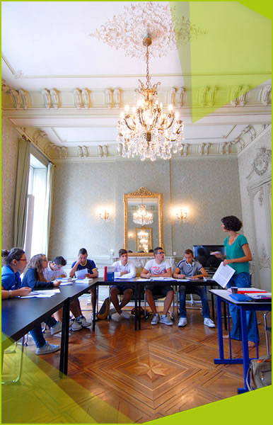 a french language course in progress in a luxurious classroom
