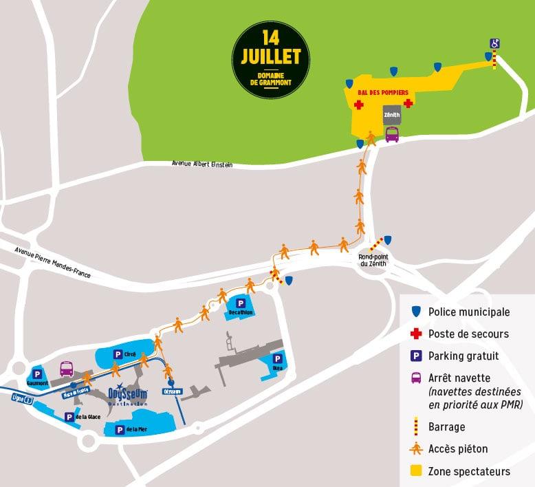 plan 14 juillet Montpellier