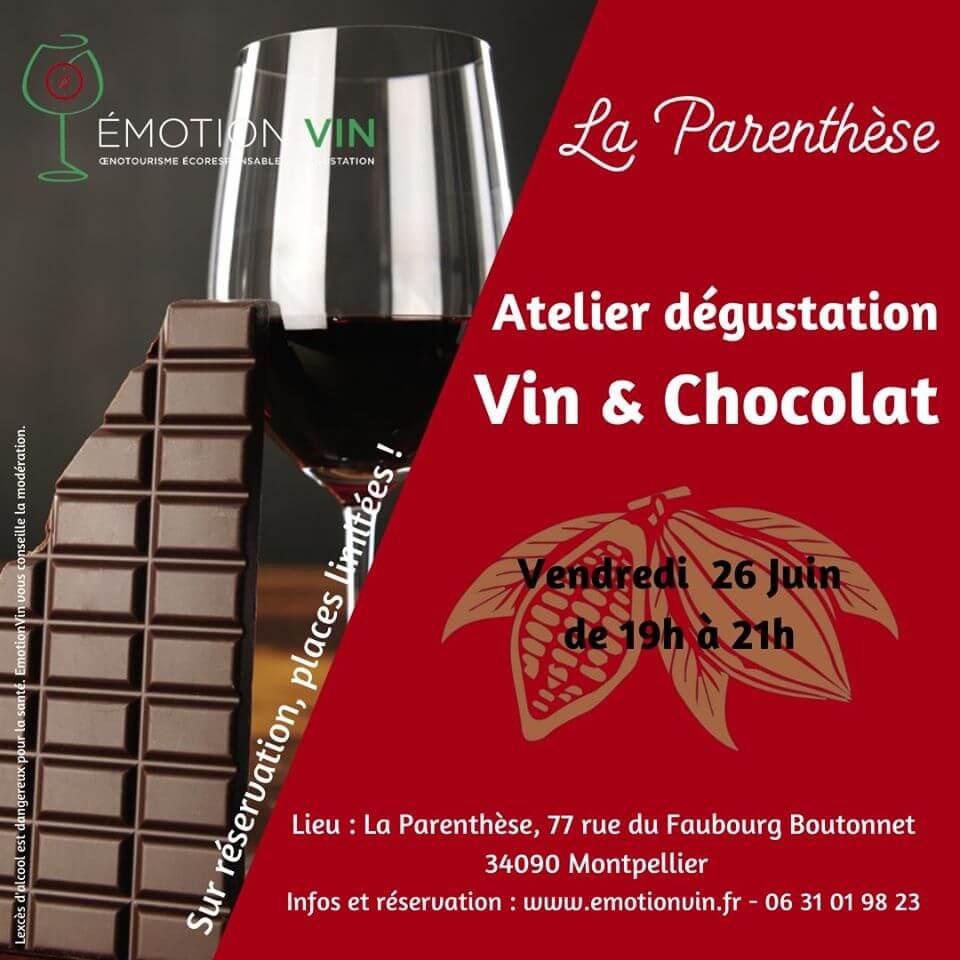 Atelier vin et chocolat